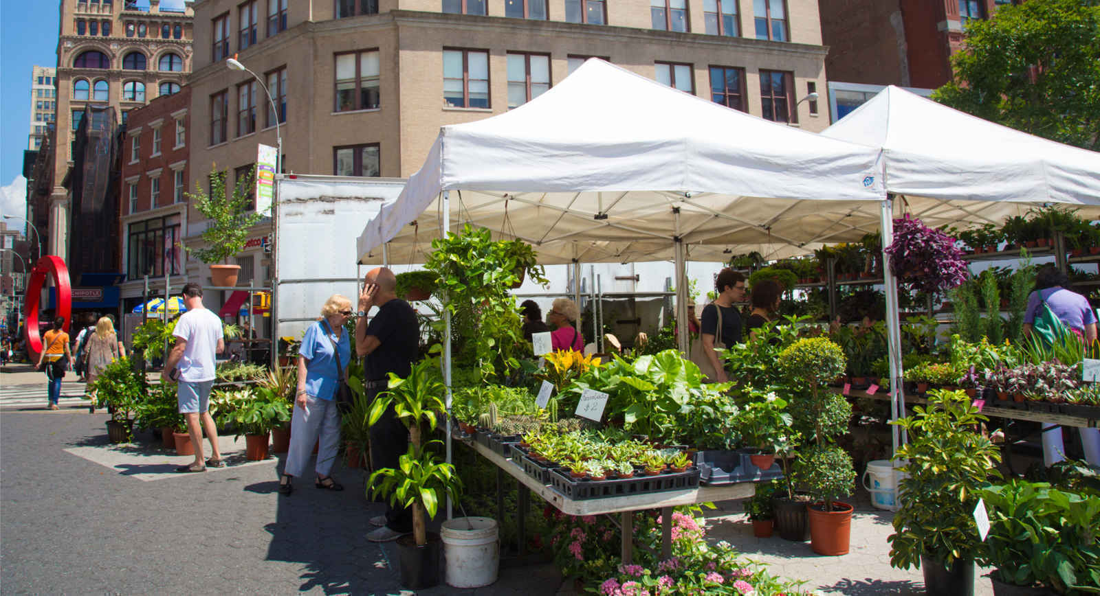 Florist selling flowers and plants in Union Square New York