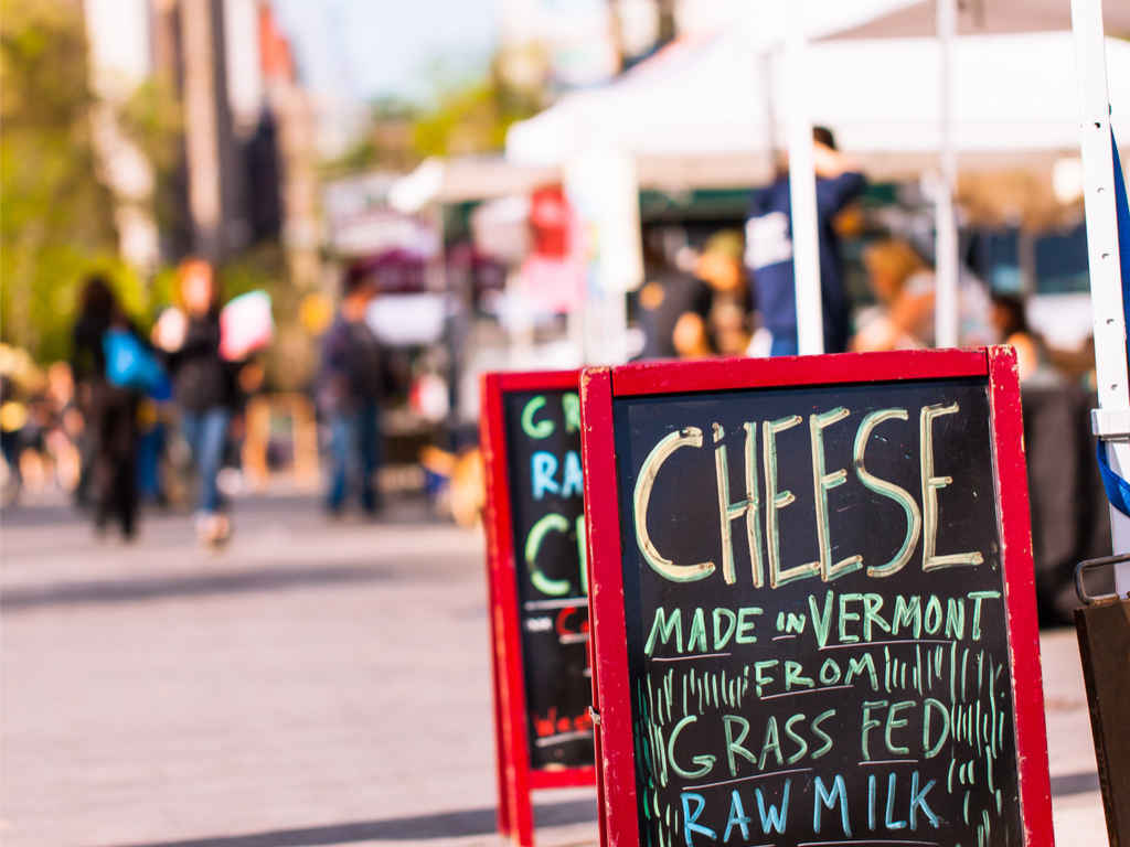 Cheese sign at Union Square farmers market, New York
