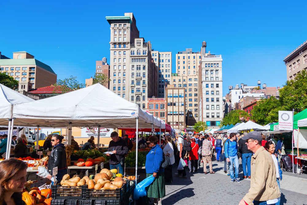 Union Square Greenmarket outdoor farmers market in New York