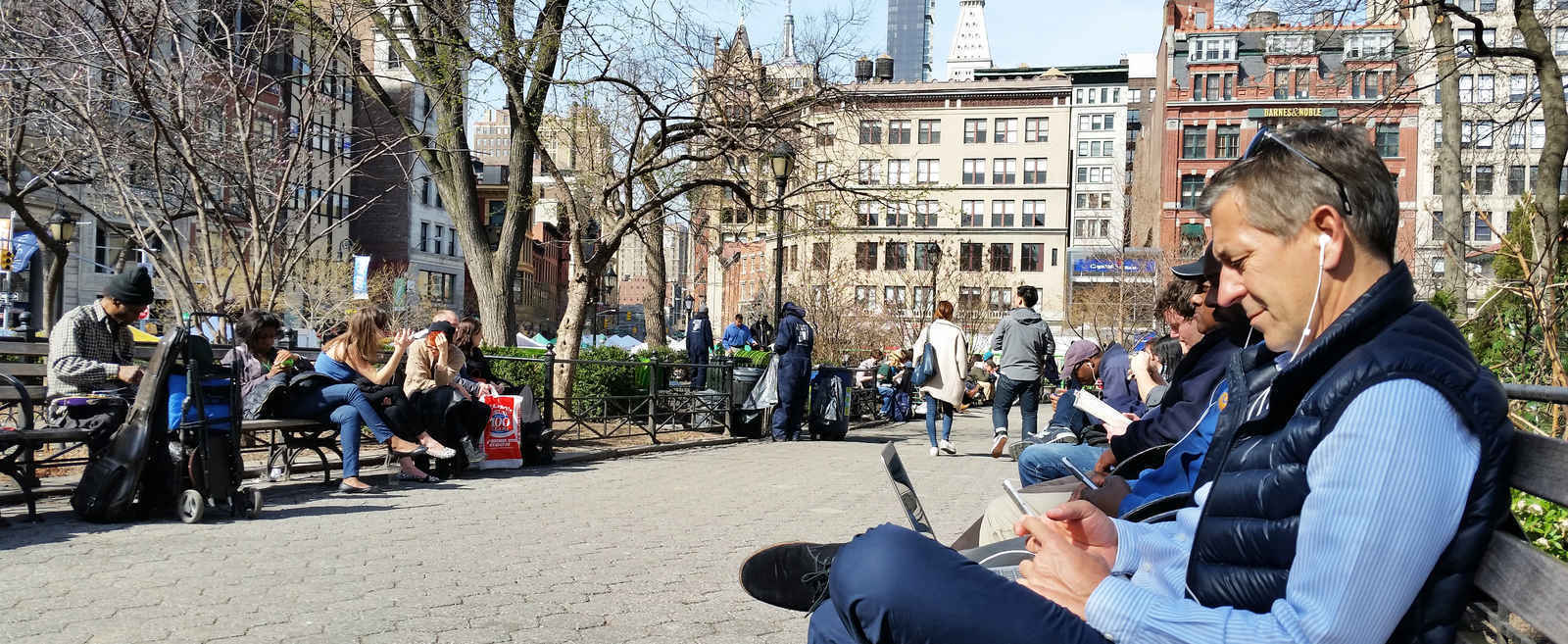 People relaxing in Union Square New York
