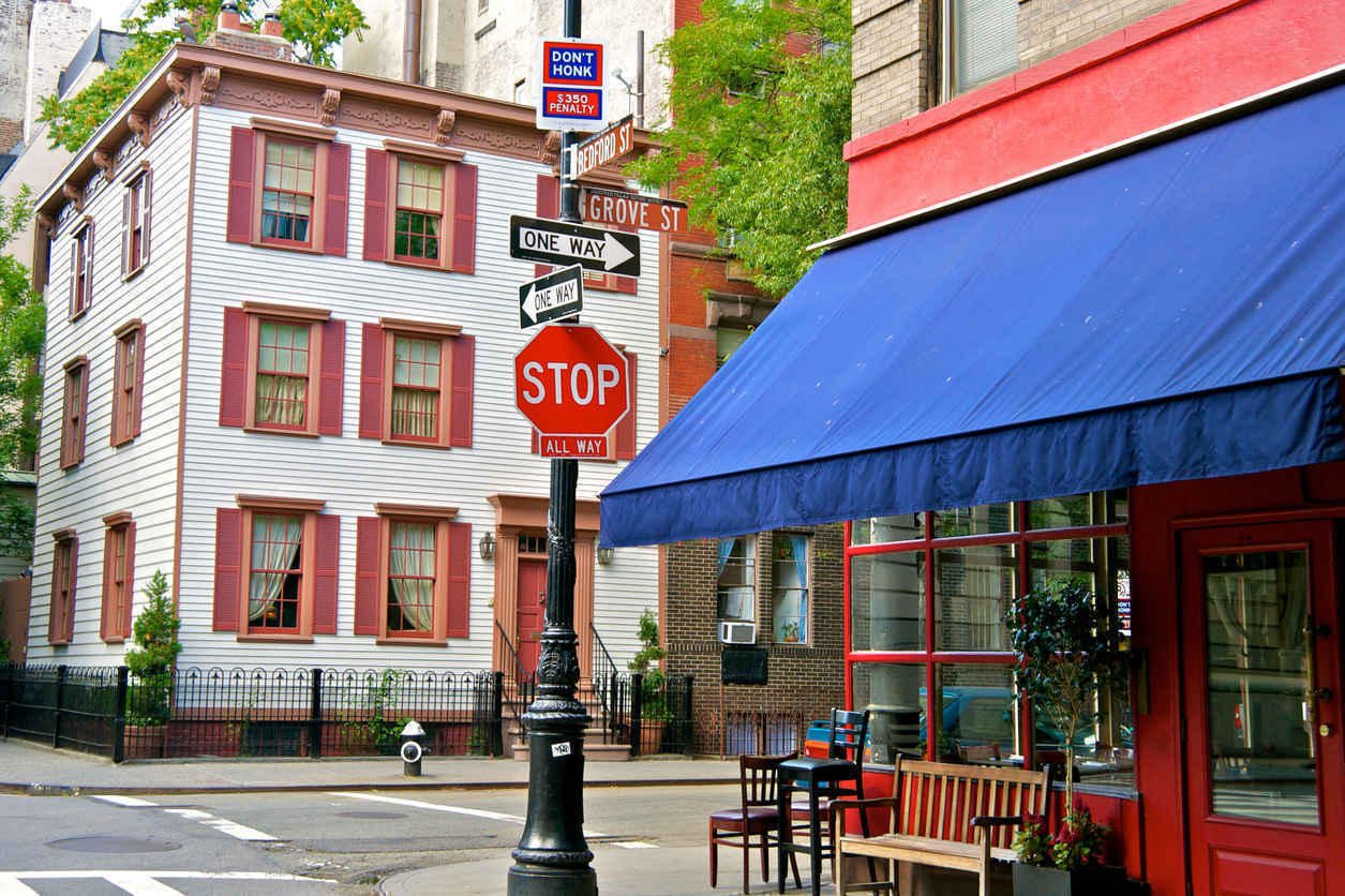 Cafe in West Village neighborhood of Manhattan, New York