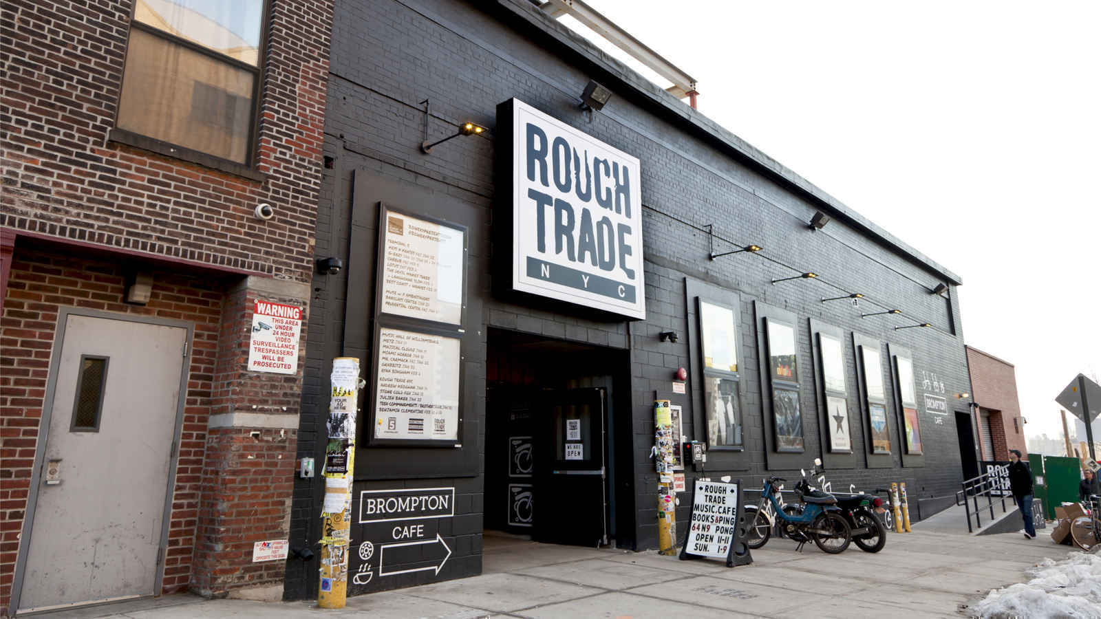 Storefront of Rough Trade record shop, live music venue, and coffeeshop, Williamsburg, Brooklyn