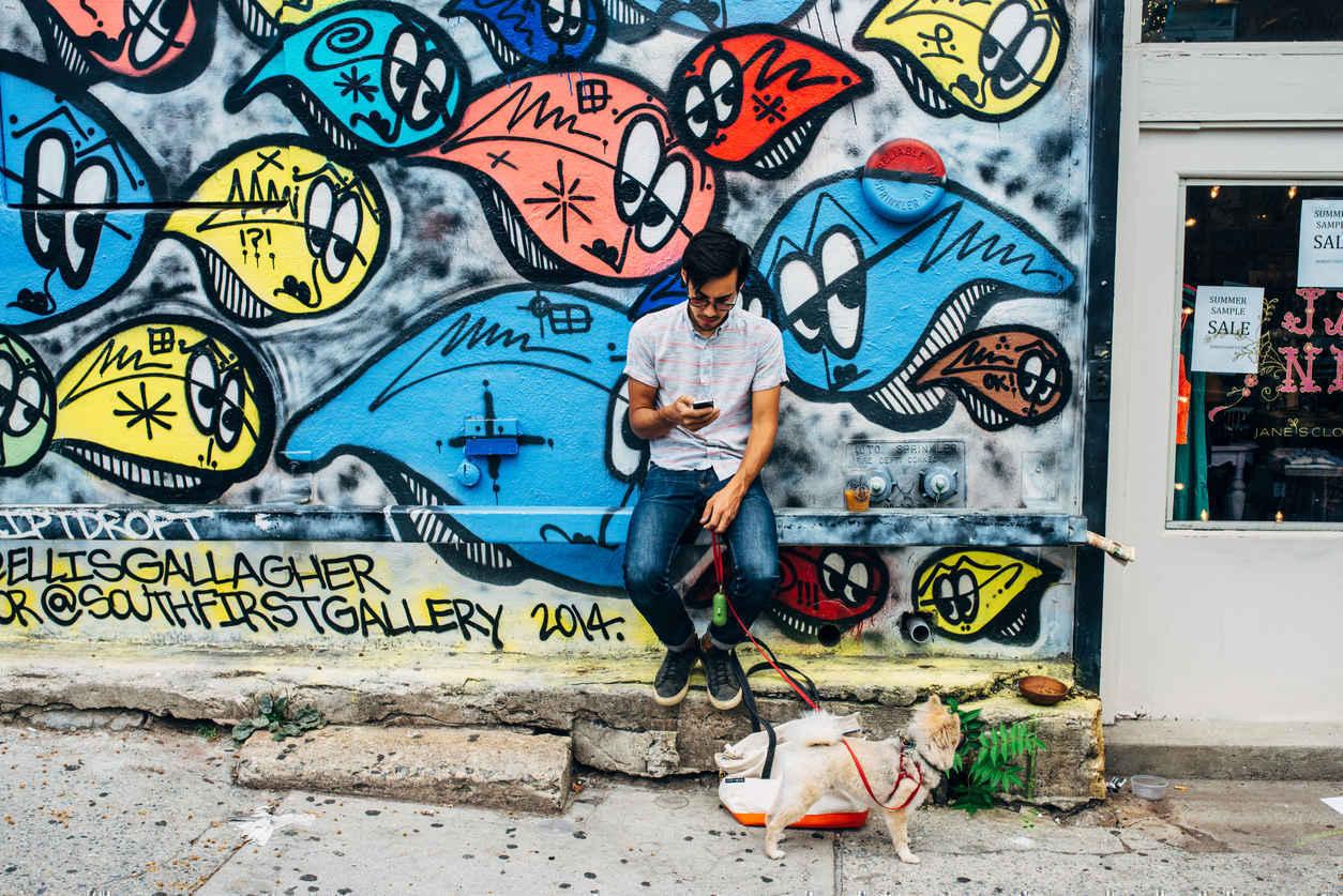 Man walking his dog, Williamsburg, Brooklyn