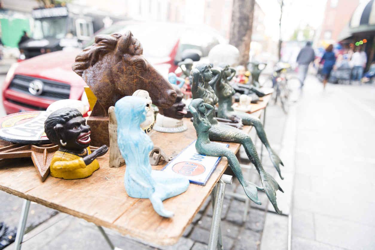 Arts and crafts at sidewalk sale in Williamsburg Brooklyn