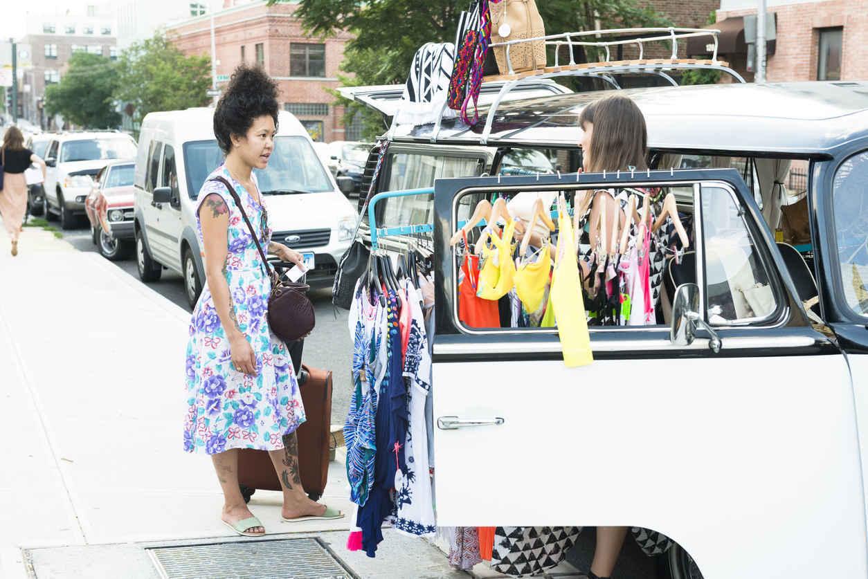 Pop up clothing shop in Williamsburg Brooklyn