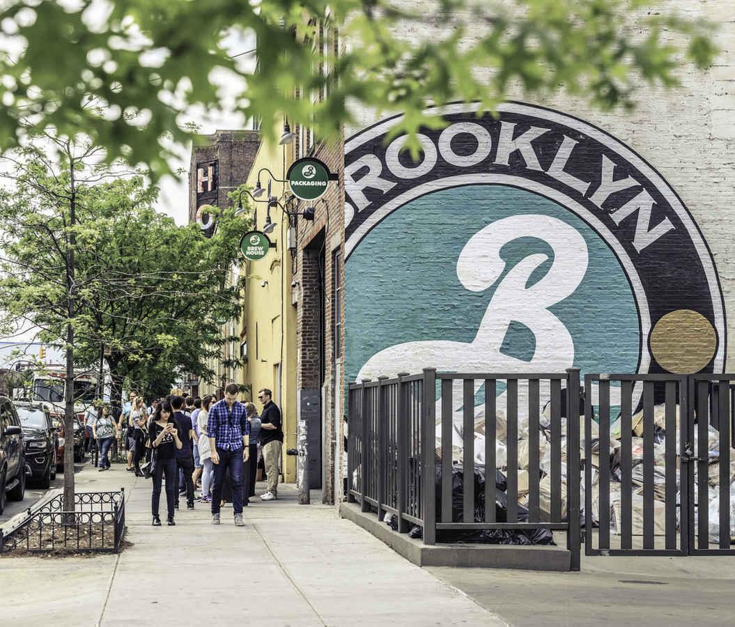 People outside Brooklyn Brewery in Williamsburg