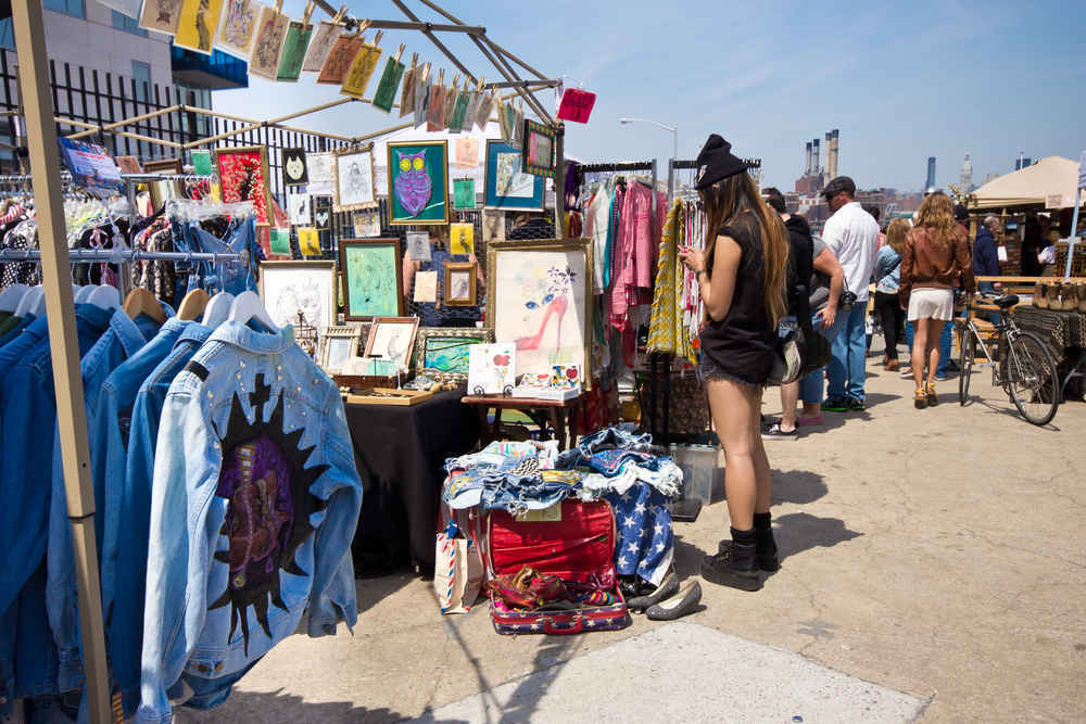 People shopping at the Brooklyn Flea market in Williamsburg, New York