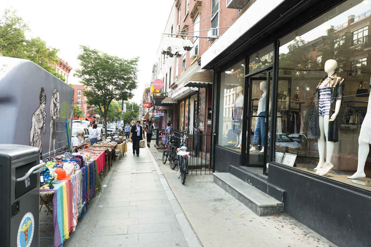 Shops and outdoor market vendors on Bedford Ave, Williamsburg, Brooklyn