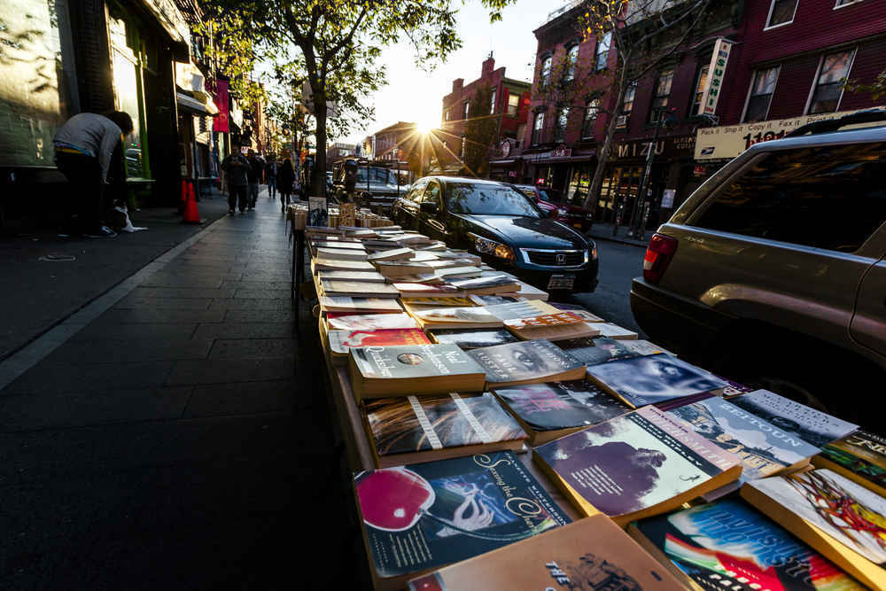 Book stand on the street in Williamsburg, Brooklyn