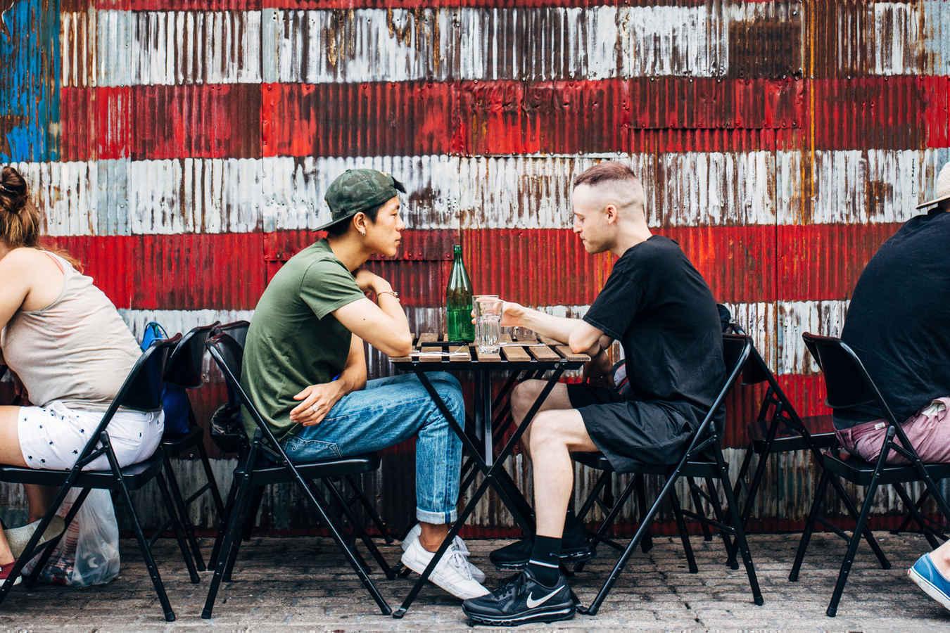 Outdoor cafe in Williamsburg Brooklyn