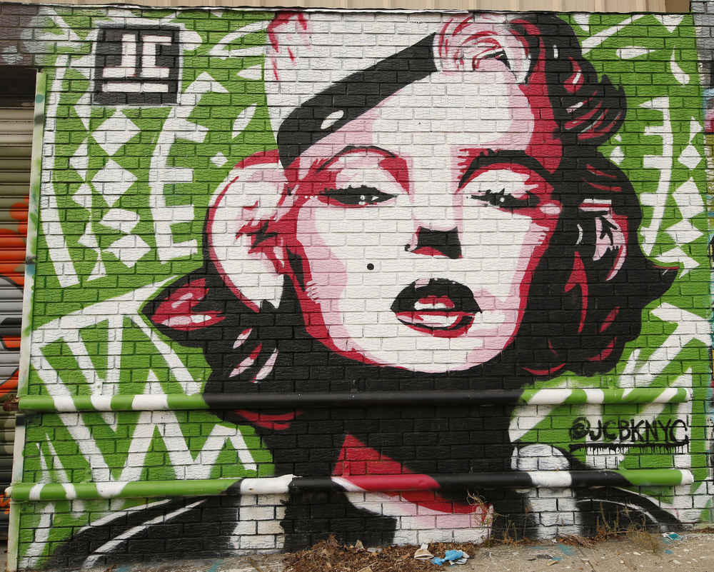 Graffiti mural art of Marilyn Monroe in Astoria Queens