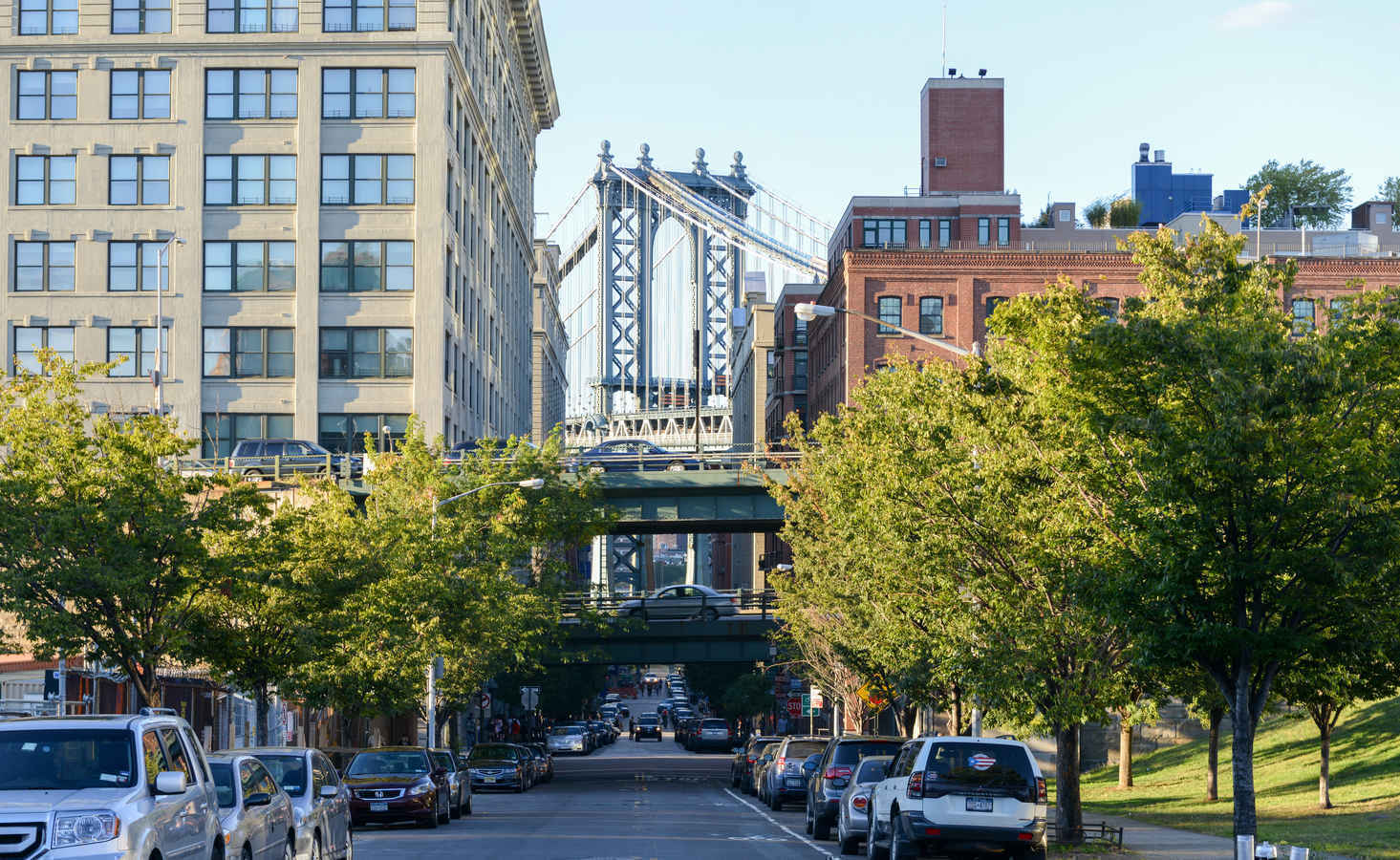Urban, industrial architecture in Dumbo, Brooklyn