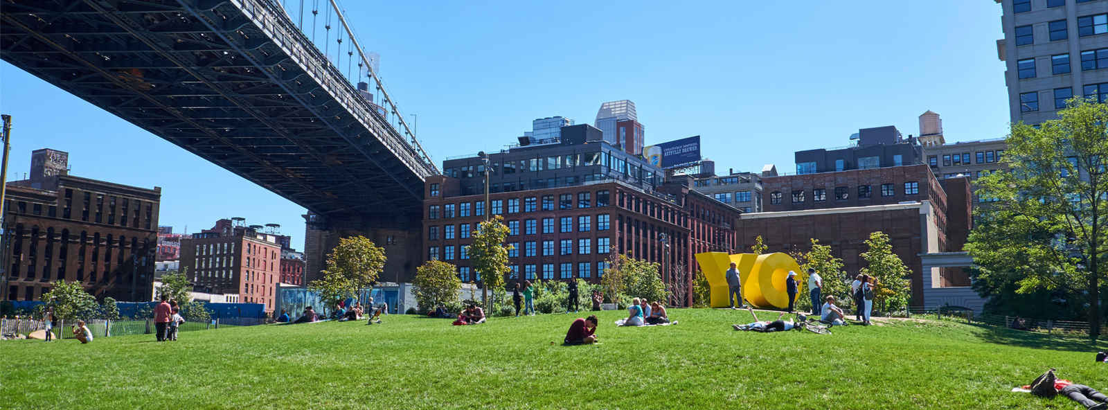 Main Street Park in Dumbo neighborhood of Brooklyn