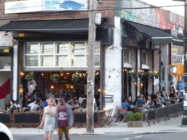 People dining at a Restaurant in Bushwick Brooklyn
