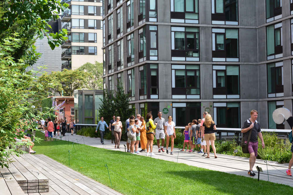 The High Line in Chelsea surrounded by residential buildings