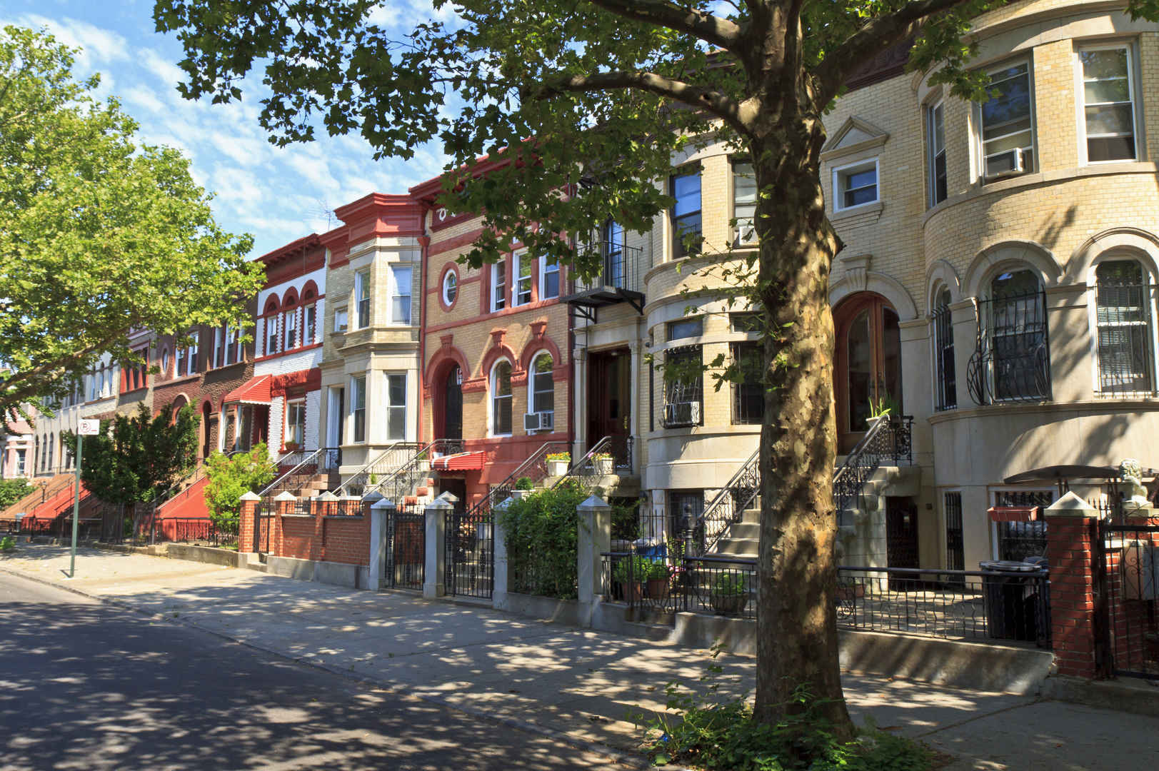 Residential brownstones on tree-lined street, Crown Heights, Brooklyn
