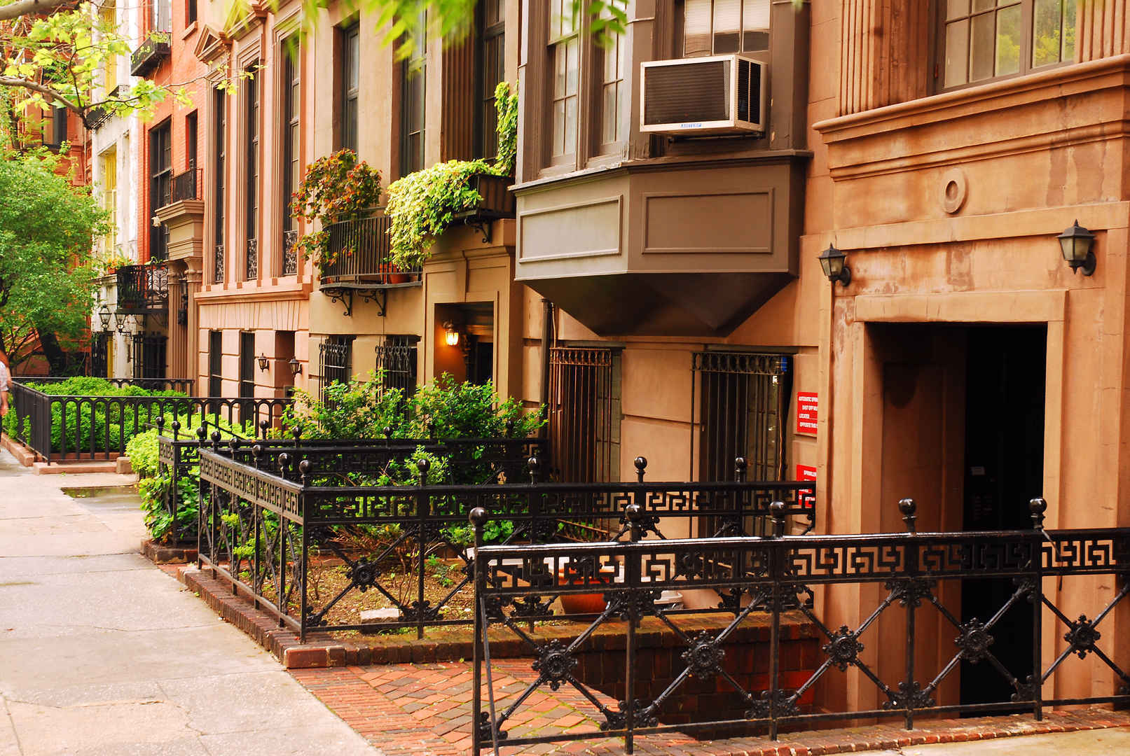 Residential brownstones and townhouses in Gramercy Park New York.