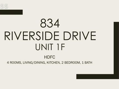 834 Riverside Drive, Apt 1-F, undefined, New York