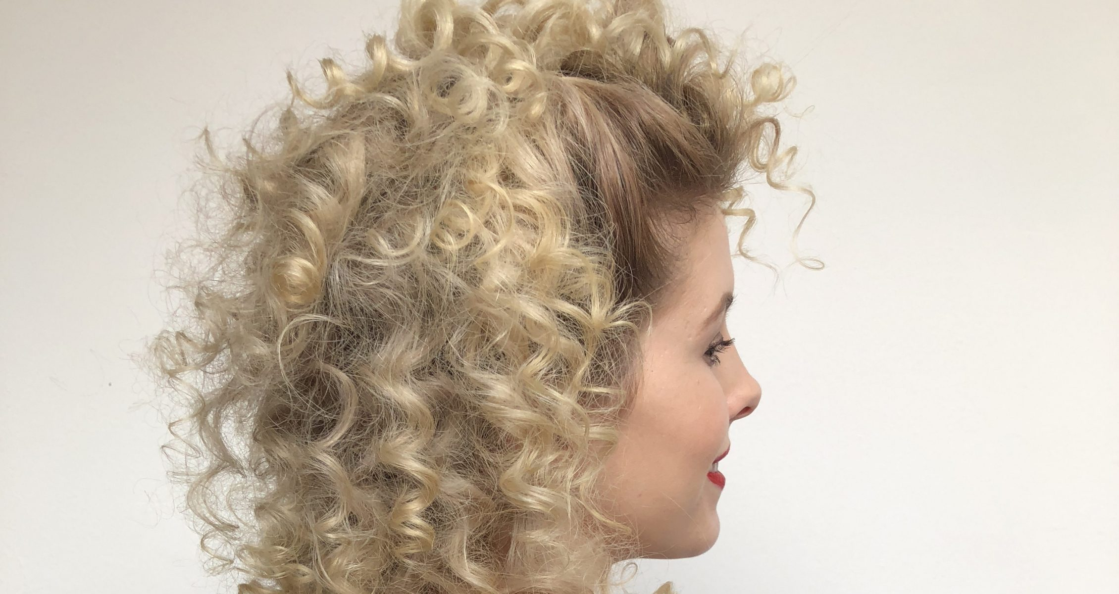 1084849d4db1ae Sandy from grease hair tutorial on a blond woman wearing an off the  shoulder black top