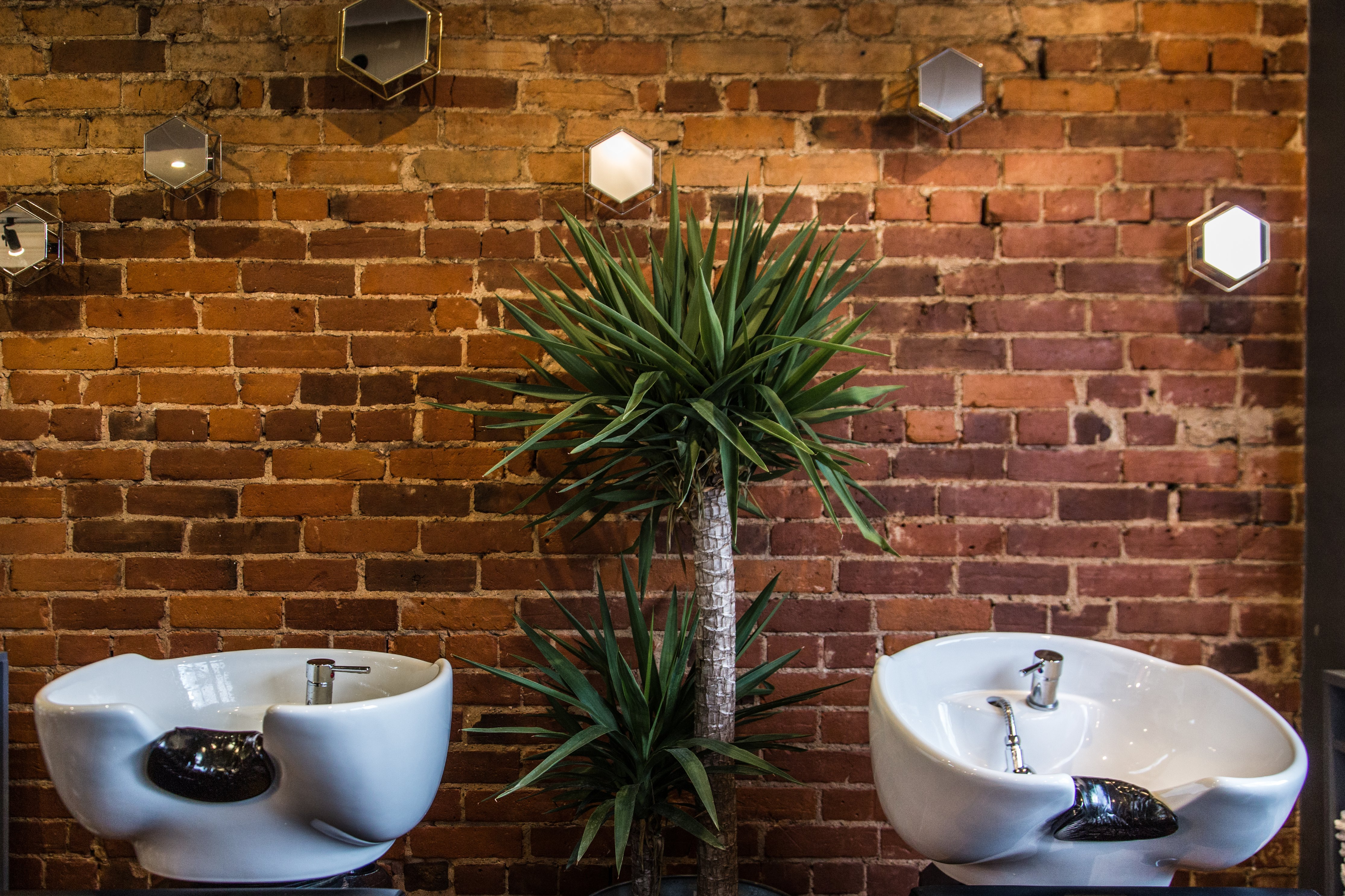 Two hair washing sinks in a hair salon in front of a red brick wall with a plant in between both.