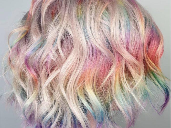 Woman with short, rainbow hair