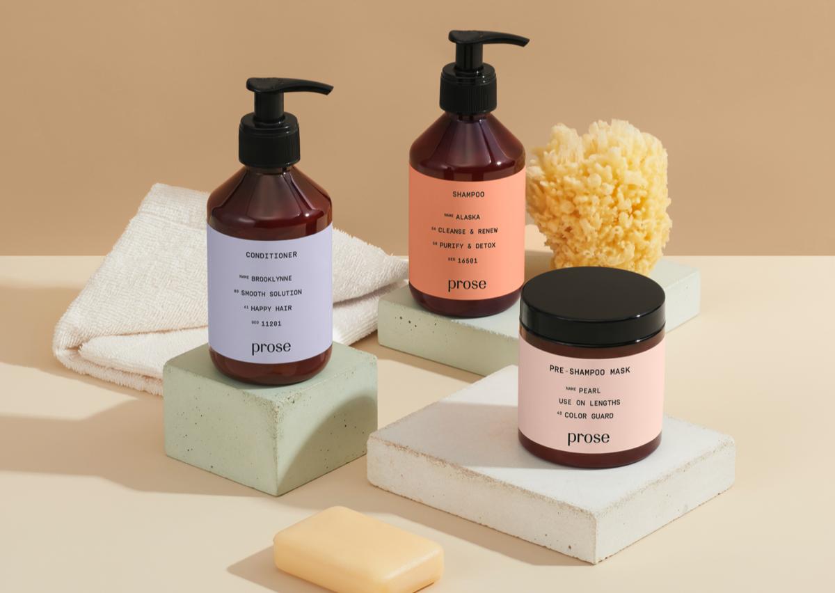 prose custom hair care pre-shampoo mask, shampoo, conditioner