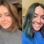 hair before and after dying hair blue