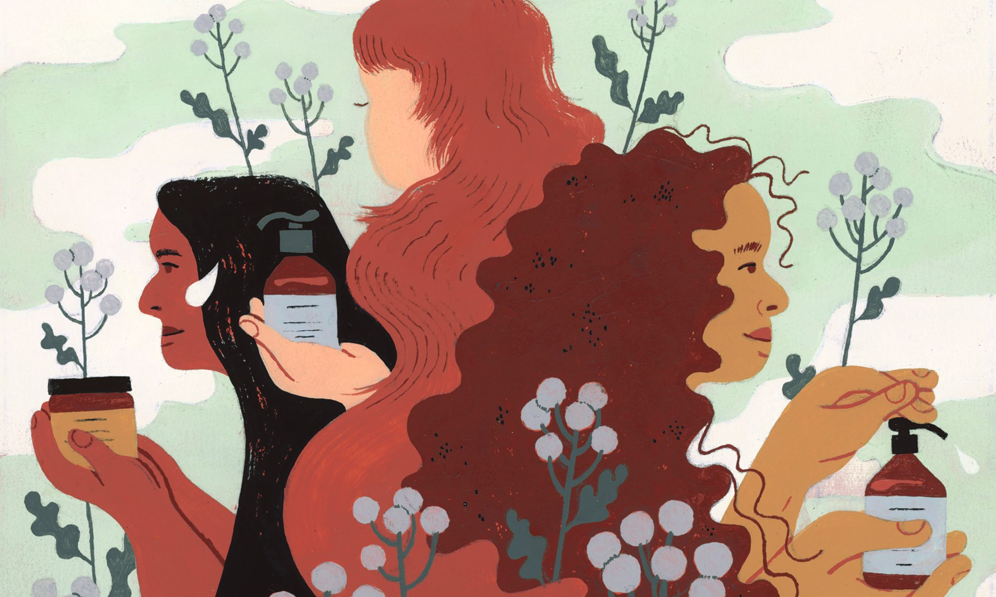 illustration of three different women holding prose hair care products
