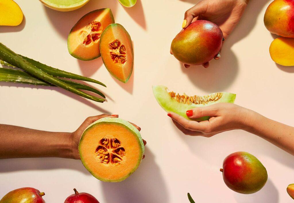 image of mangos, melons, and aloe