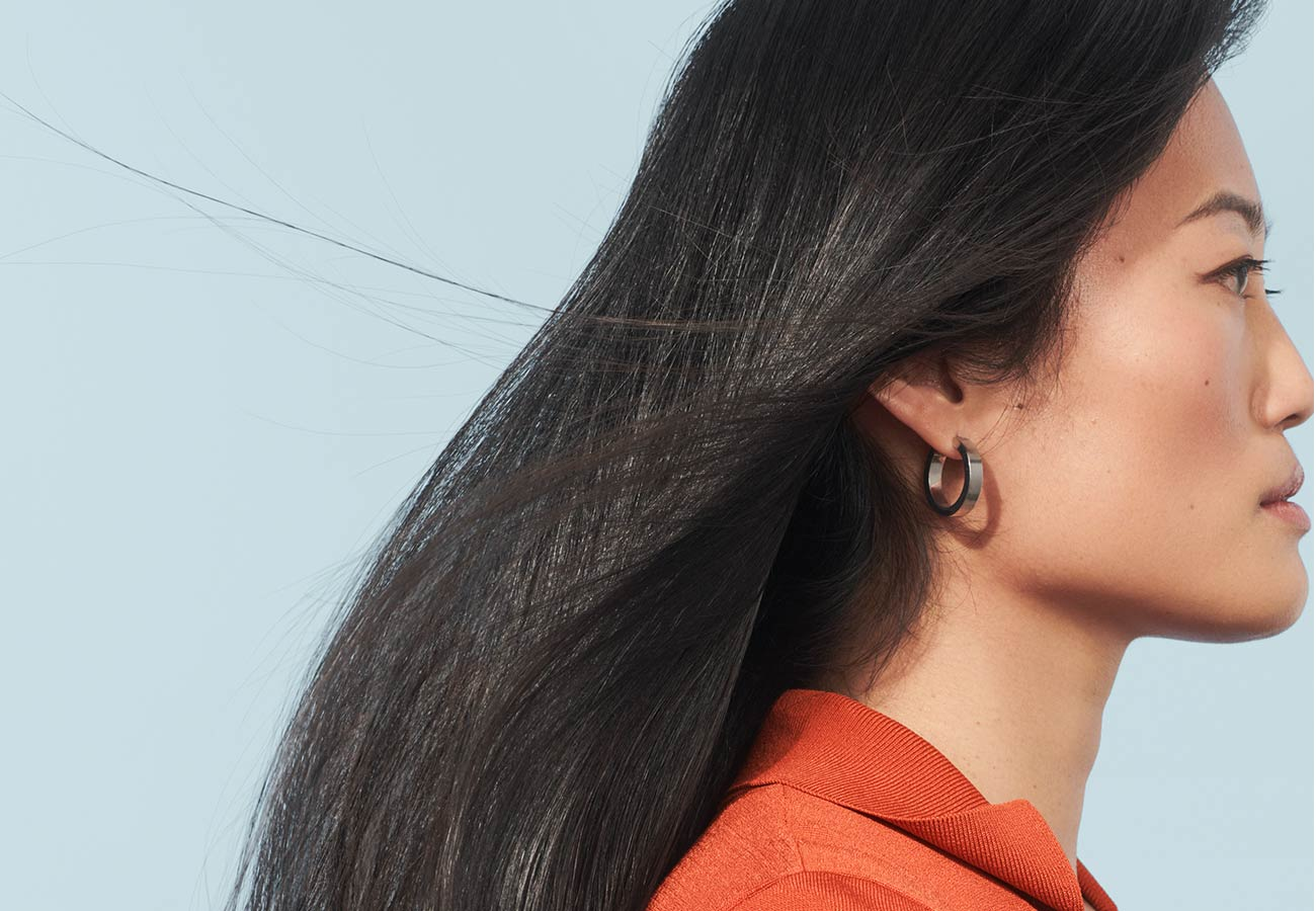 woman with long, straight, black hair