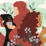 illustration of three women in nature holding prose haircare products
