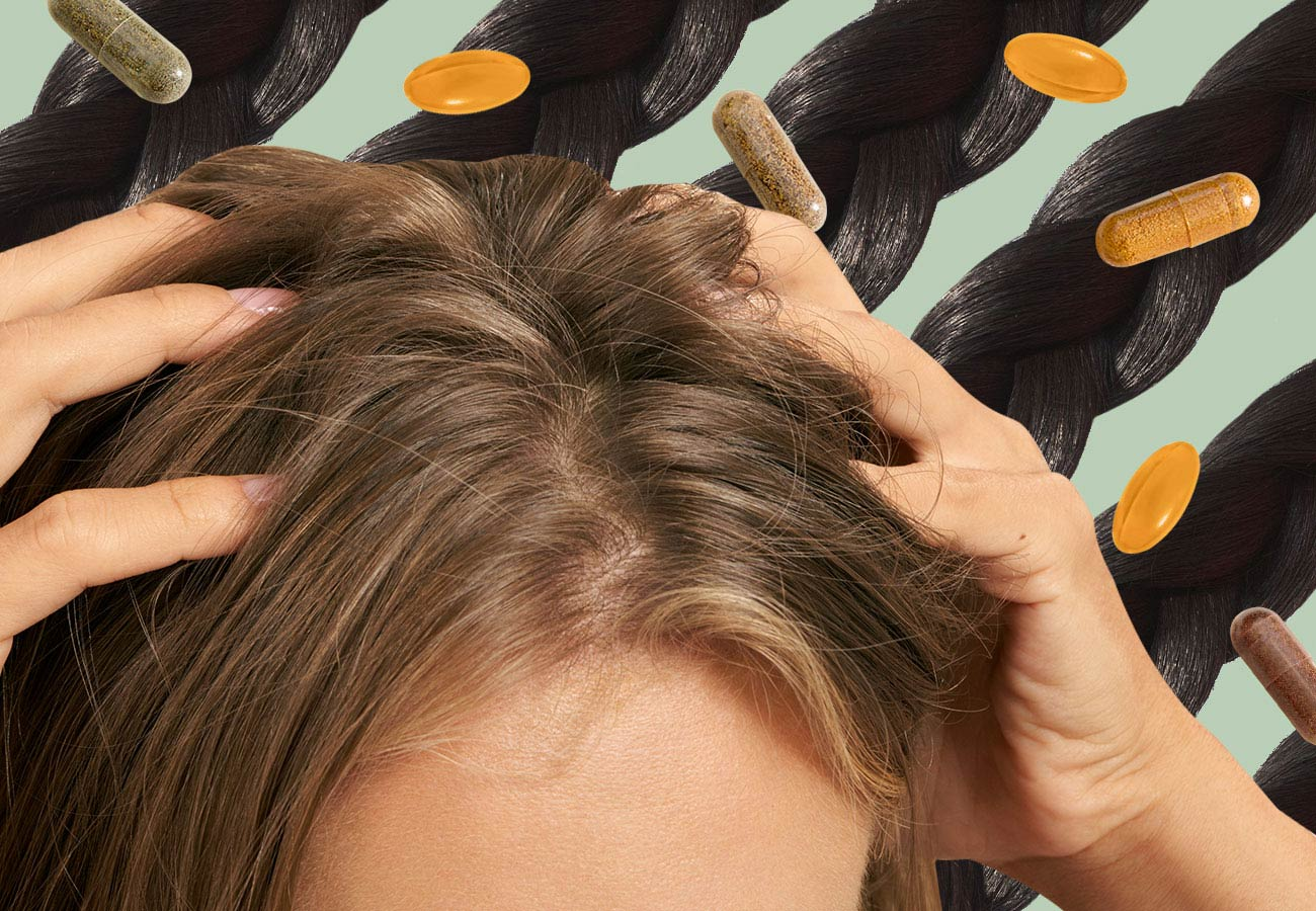 collage of woman rubbing her scalp with hair supplements in the background