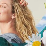 collage of woman with blonde wavy hair surrounded by fruits and flowers