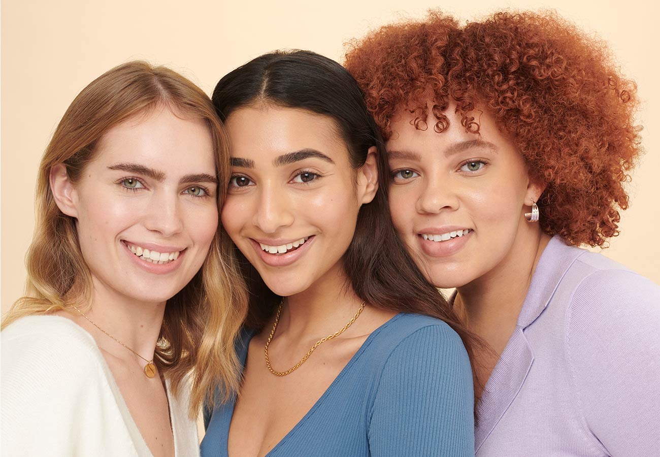 women with three different hair types