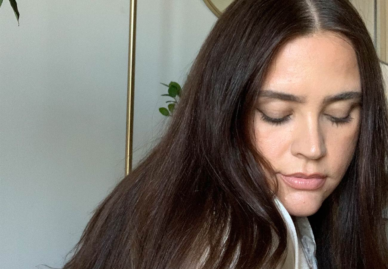woman with long, dark brown hair