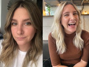before and after of a platinum blonde dye job