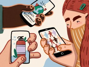 illustration of people holding phones representing b corps
