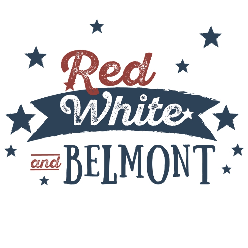 Red, White & Belmont White Logo
