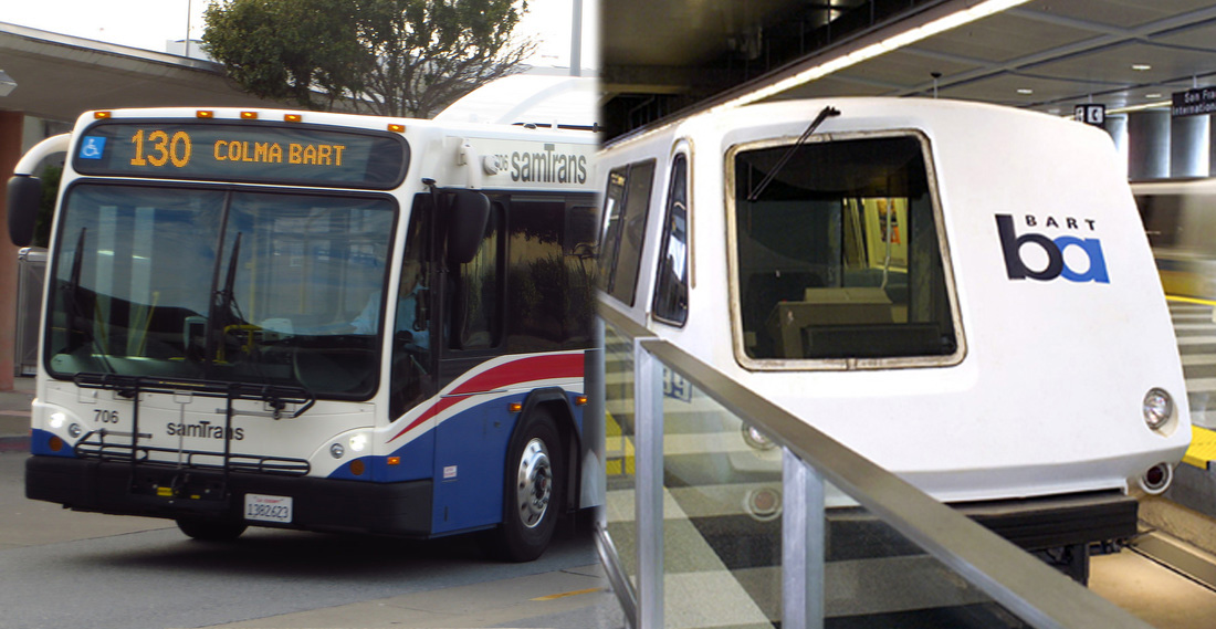 SamTrans and BART Train collage