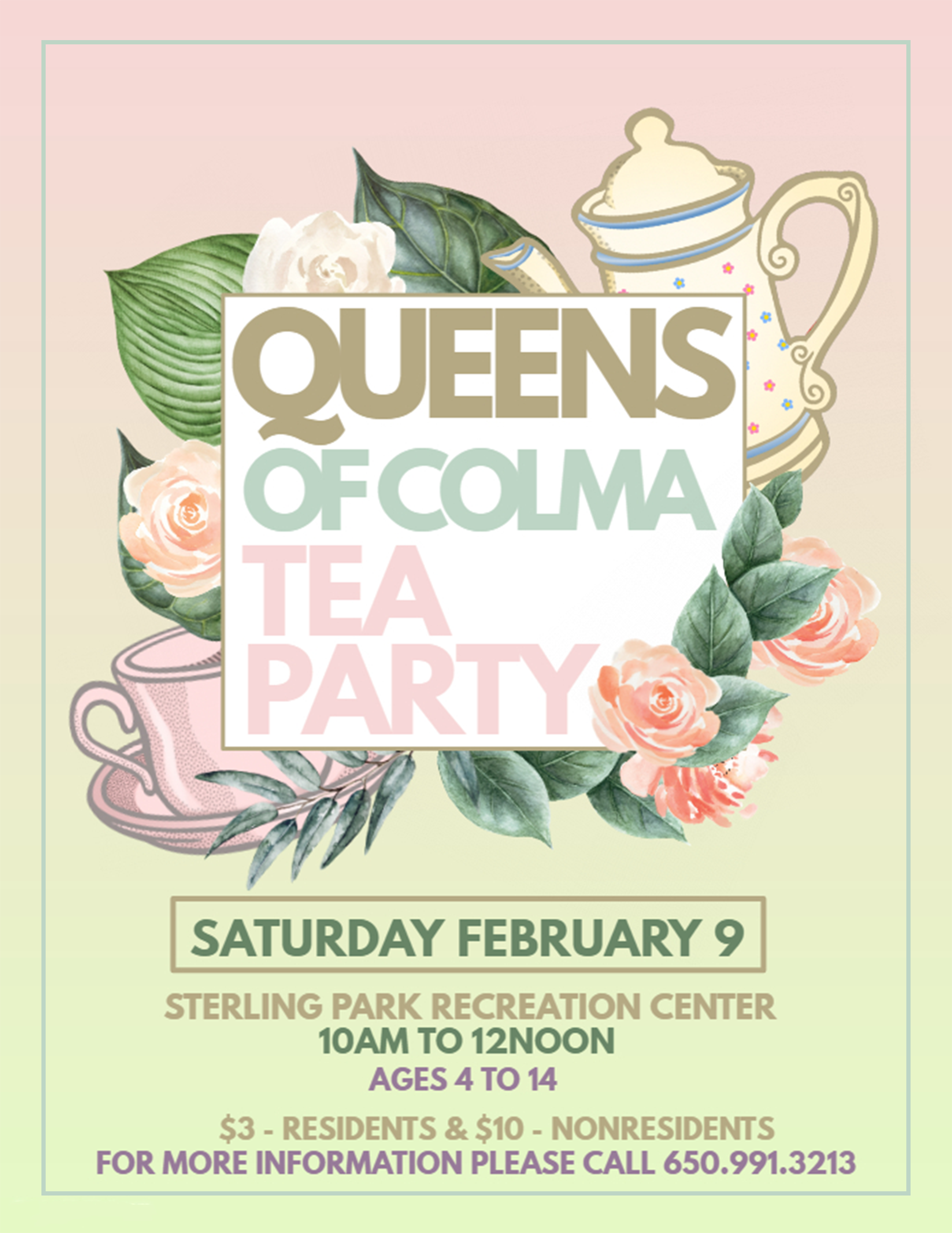 Come Join The Ladies Of Our Colma Recreation Staff For A Tea Party At Sterling Park We Will Have Breakfast Pastries Crafts And Games