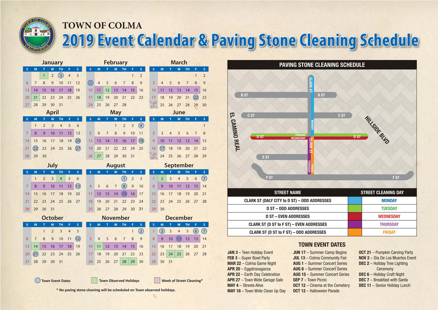 Paving stone cleaning calendar D St and rest of Clark St