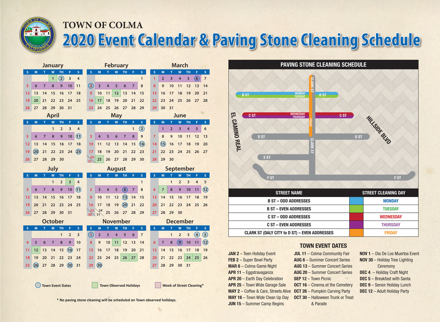 2020 Colma Paving Stone Calendar B C Clark 1