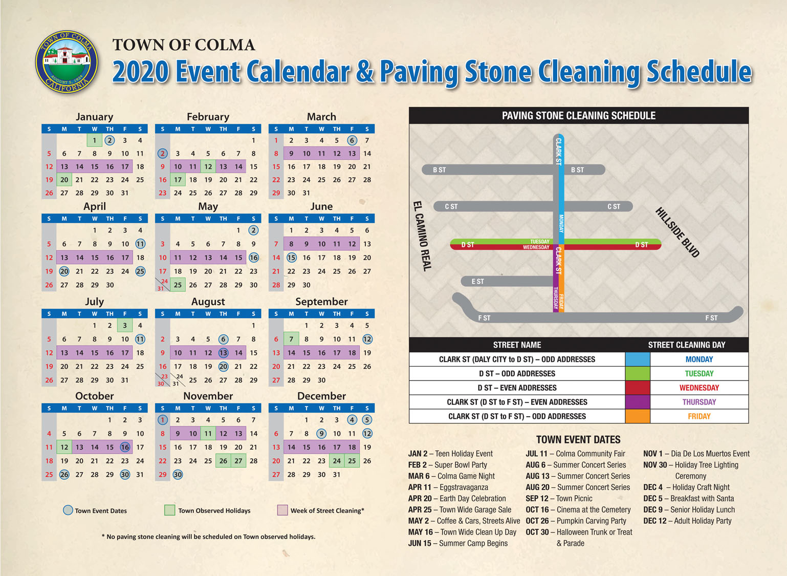 2020 Colma Paving Stone Calendar D Clark