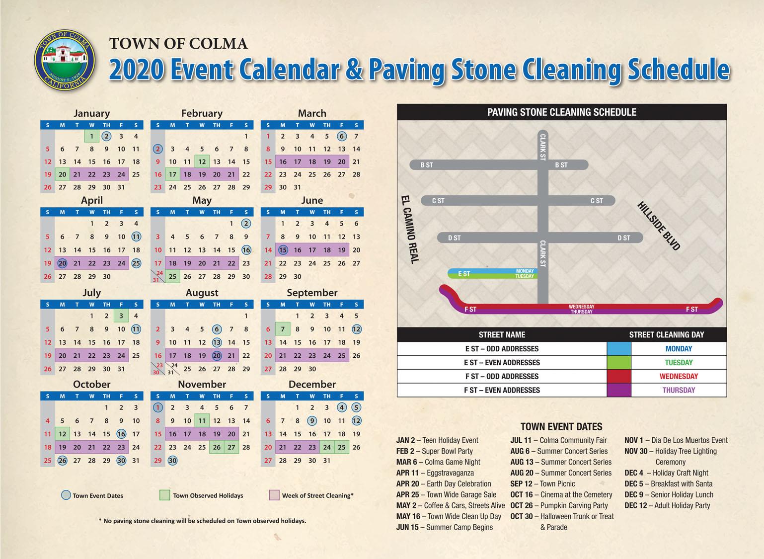 2020 Colma Paving Stone Calendar E F st
