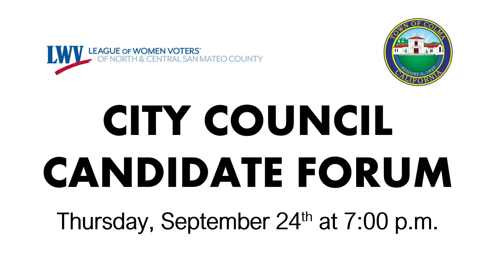 Candidate Forum on Thursday, September 24
