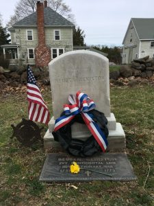 Flags Around Town, RW Hero Reuben Keniston, Elliott St cemetery