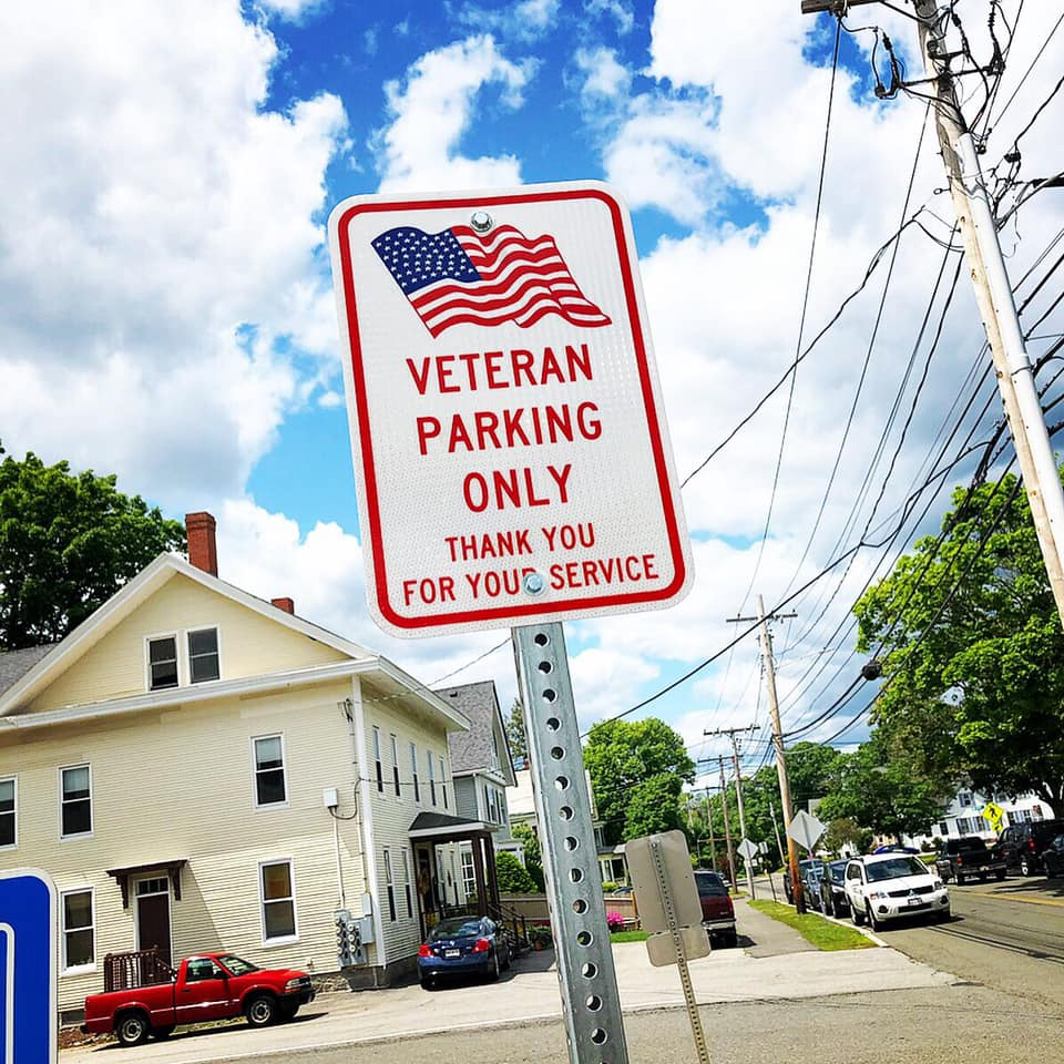 upclose Veteran parking sign