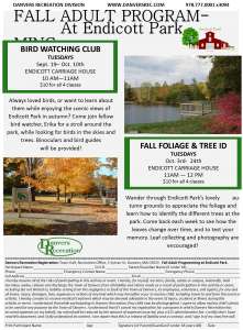 Fall Adult Programming @ Endicott Park Flyer