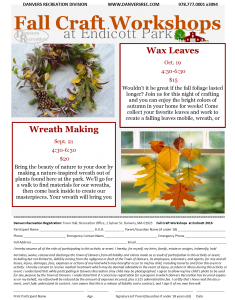 Fall Craft Workshops @ Endicott Park