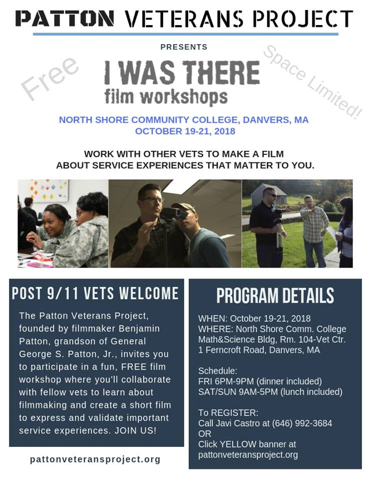 I WAS THERE Film Workshop Free for Veterans NSCC October 19-21, 2018